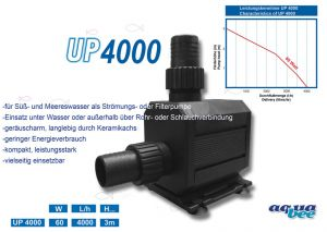 Aquabee-Kreiselpumpe UP4000 l/h - 60 Watt / hmax 3,0 m