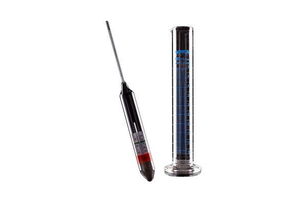 ARKA Aräometer mit Thermometer und Messzylinder aus Borosilikatglas